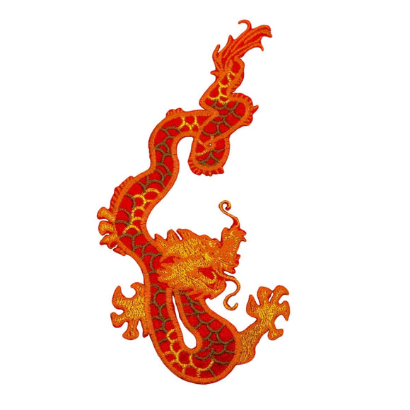 Right Facing Orange Dragon Patch Chinese Asian Fire Embroidered Iron On Applique