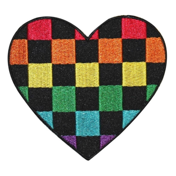 Checkered Rainbow Heart Patch Hippie Love Colorful Embroidered Iron On Applique
