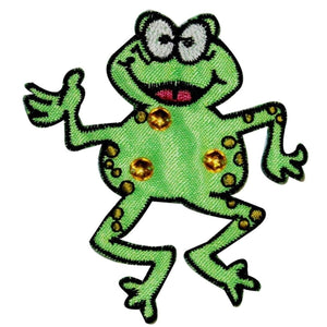 Jeweled Happy Frog Patch Jump Cartoon Amphibian Embroidered Iron On Applique