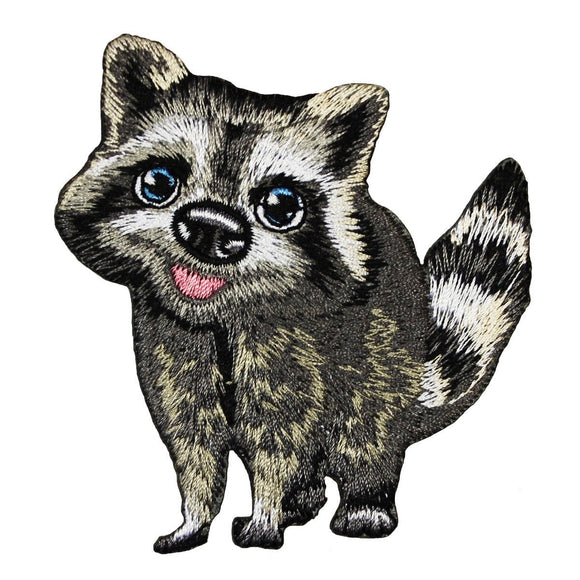 Cute Raccoon Cub Patch Baby Animal Nocturnal Forest Embroidered Iron On Applique