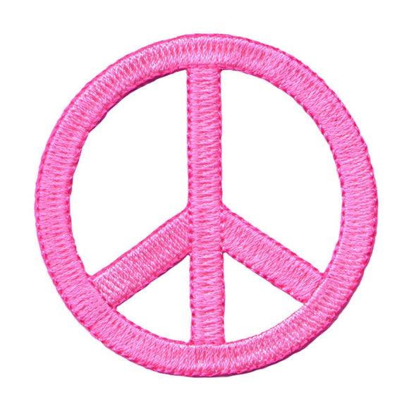 2 1/4 Inch Neon Pink Peace Sign Patch Die Cut Embroidered Iron On Applique