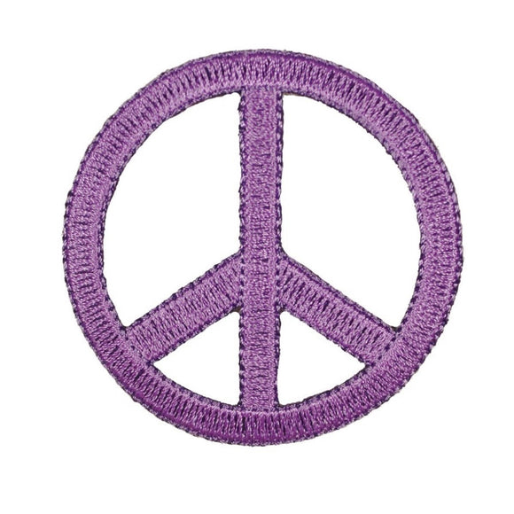 2 1/4 Inch Light Purple Peace Sign Patch Die Cut Embroidered Iron On Applique