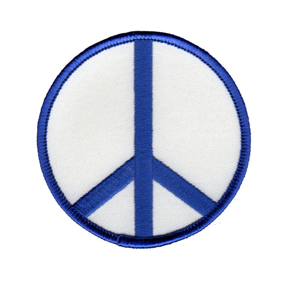 3 Inch Peace Sign Blue on White Patch Hippie Apparel Decoration Iron On Applique