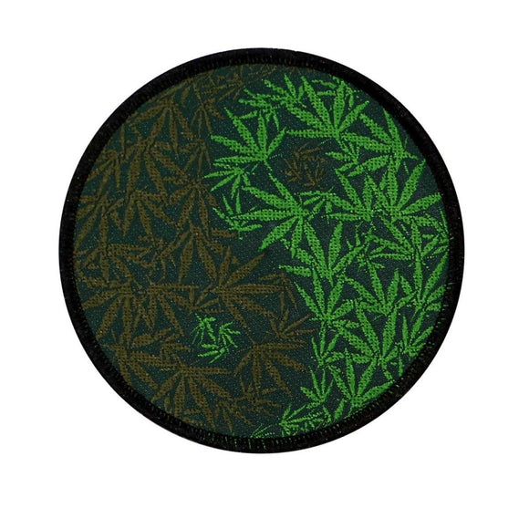 Yin Yang Pot Leaf Patch Weed Zen Marijuana Symbol Woven Sew On Applique