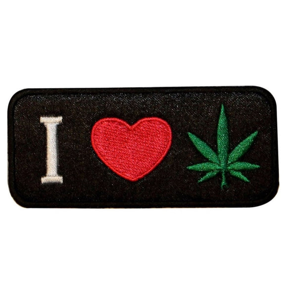 I Love Pot Marijuana Lover Patch Stoner Weed Hippie Embroidered Iron On Applique