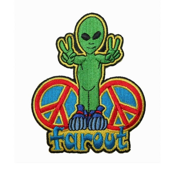 Far Out Alien Peace Sign Patch UFO Hippie Groovy Embroidered Iron On Applique