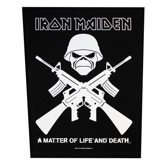XLG Iron Maiden A Matter of Life & Death Crossed Guns Back Patch Sew On Applique