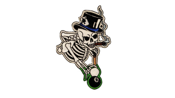 Cigar Smoking Skeleton Patch Pool 8 Eight Ball Embroidered Iron On Applique