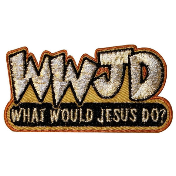 WWJD What Would Jesus Do Patch Christian Faith Religion Shiny Iron On Applique