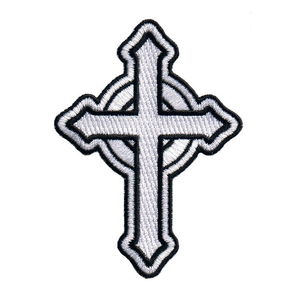 White Catholic Cross Patch Religious Roman Irish Christian Icon Iron On Applique