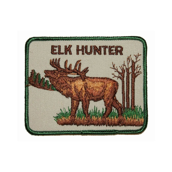 Elk Hunter Patch Sport Shooting Big Game Outdoors Embroidered Sew On Applique