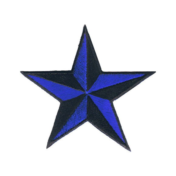 3 INCH Royal Blue Black Nautical Star Patch Tattoo Embroidered Iron on Applique