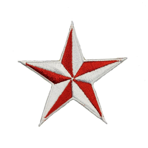 3 INCH Red White Nautical Star Patch Tattoo Compass Embroidered Iron On Applique