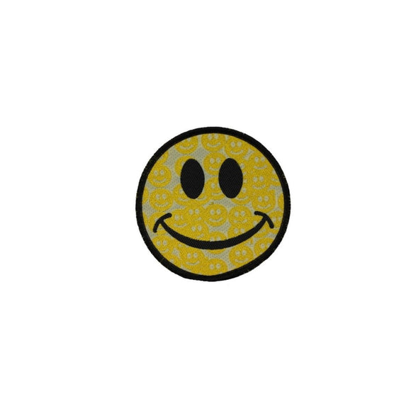 Smiley Face Patch Gold Smiley Faces Emoji Happy Hippie Woven Sew On Applique