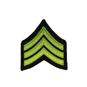 Olive Green Military Stripes Patch Rank Chevron Embroidered Iron On Applique