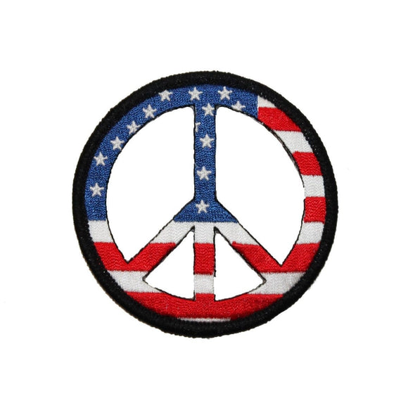 USA American Flag Peace Sign Patch Red White & Blue Patriotic Iron On Applique