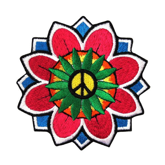 Daisy Peace Sign Flower Patch Hippie Groovy Embroidered Love Iron On Applique