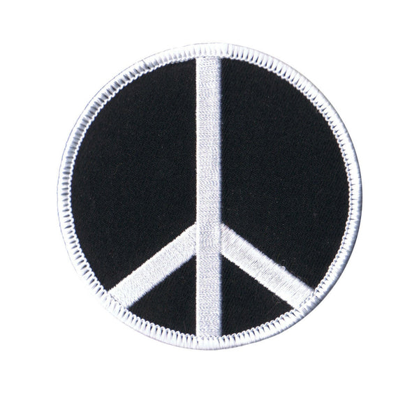 3 Inch Peace Sign White on Black Patch Hippie Embroidered Iron On Applique