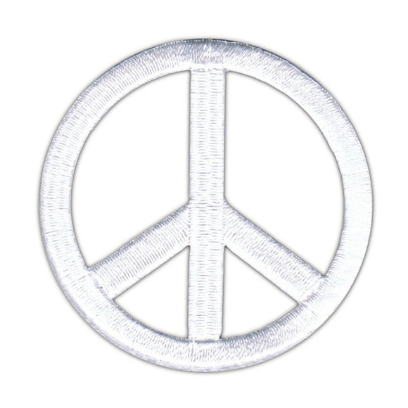2 1/4 Inch White Peace Sign Patch Die Cut Embroidered Iron On Applique