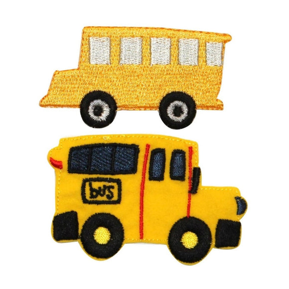 ID 0950AB Set of 2 Kids School Bus Patch Drive Van Embroidered Iron On Applique