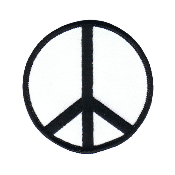 3 Inch Peace Sign Black on White Patch Hippie Decoration Iron On Applique