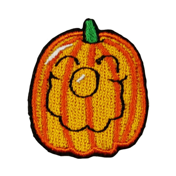 ID 0801A Happy Jack O Lantern Patch Pumpkin Smile Embroidered Iron On Applique