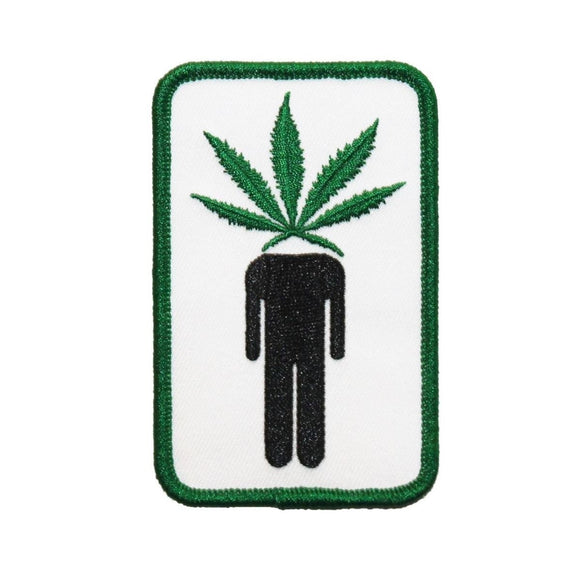 Pot Head Man With Marijuana Leaf Head Patch Stoner Embroidered Iron On Applique