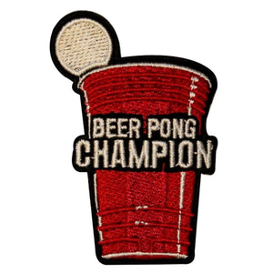 Beer Pong Champion Patch Game Drinking Embroidered Iron On Badge Applique