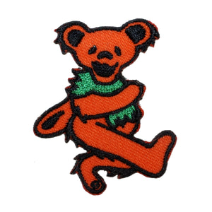 "Grateful Dead 2"" Orange Dancing Bear Patch Psychedelic Rock Iron On Applique"