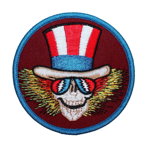 Grateful Dead Uncle Sam Skeleton Patch Blues Skull Rock Band Iron On Applique