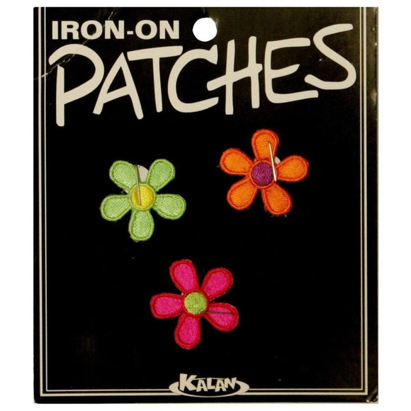 Set of 3 Multicolor Daisy Patches Spring Colorful Embroidered Iron On Applique