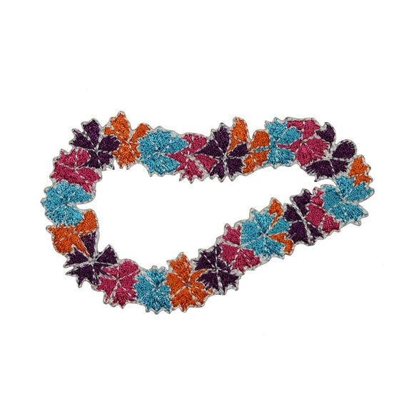 Hawaiian Lei Patch Colorful Flower Necklace Wreath Embroidered Iron On Applique