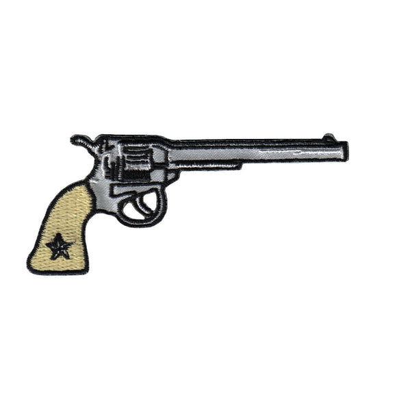 Western Pistol Patch Firearm Right Facing Badge Embroidered Iron On Applique