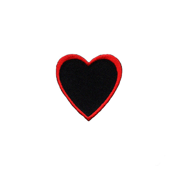 Heart Shape Red Outline On Black Patch Love Cute Embroidered Iron On Applique