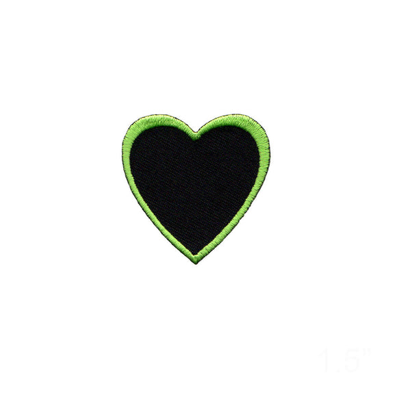 Heart Shape Green Outline On Black Patch Love Cupid Embroidered Iron On Applique