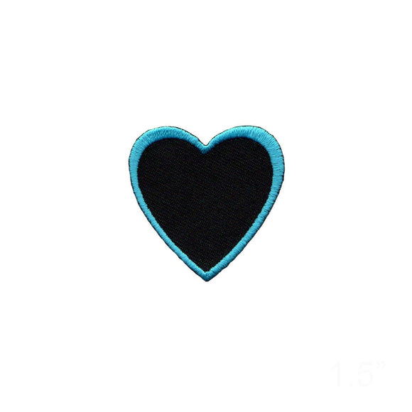 Heart Shape Blue Outline On Black Patch Love Cupid Embroidered Iron On Applique