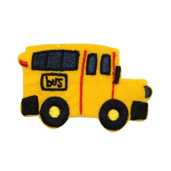 ID 0950A Yellow School Bus Patch Learn Transport Embroider Iron On Applique