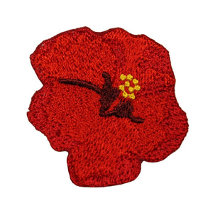 ID 6705 Red Hibiscus Flower Patch Plant Blossom Embroidered Iron On Applique