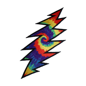 "Grateful Dead 8"" Tie Dye Lightning Bolt Patch Psychedelic Rock Iron On Applique"