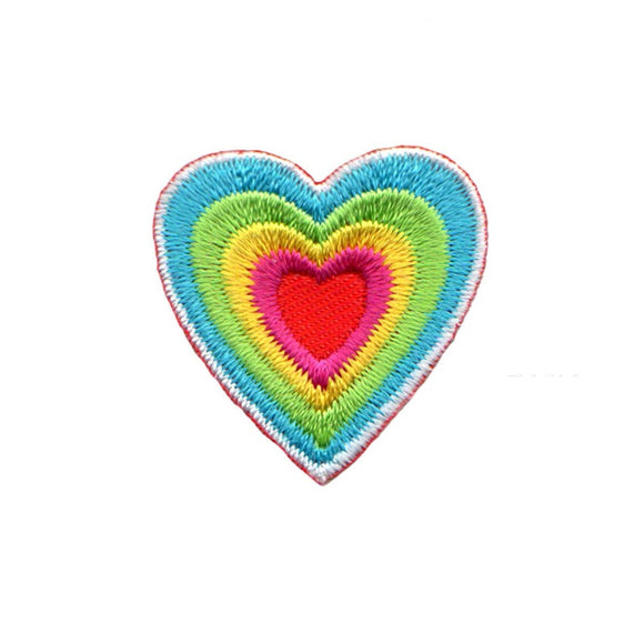 Heart Shape Multi Colored Patch Stacked Rainbow Embroidered Iron On Applique