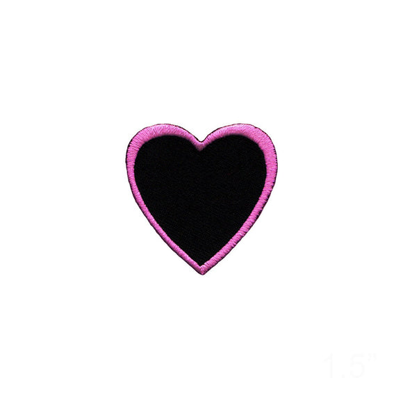Heart Shape Pink Outline On Black Patch Love Cupid Embroidered Iron On Applique