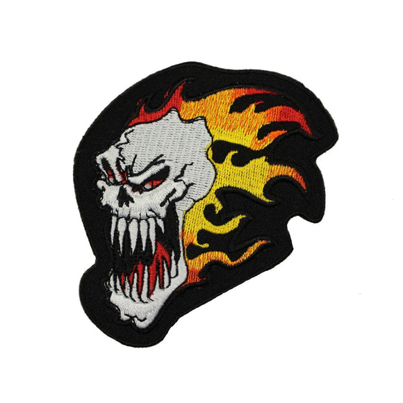 Flaming Skull  Patch Tattoo Death Face Fire Biker Embroidered Iron On Applique