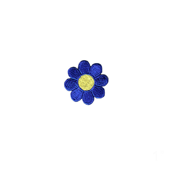 1 INCH Daisy Dark Blue Petal Yellow Center Patch Flower Embroidered Iron On