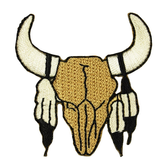 ID 1321 Western Bull Skull Patch Indian Cowboy Horn Embroidered Iron On Applique