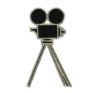 ID 2368F Old Fashion Camera On Tripod Patch Film Movie Theater Iron On Applique