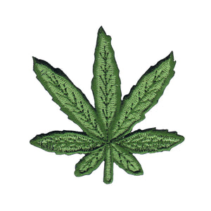 3 Inch Pot Leaf Green Patch Cannabis Plant Stoner Embroidered Iron On Applique