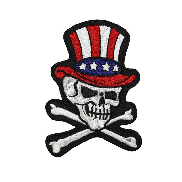 Uncle Sam Skull & Crossbones Patch USA Top Hat Embroidered Iron On Applique