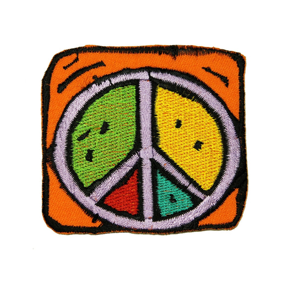 Orange Framed Colorful Peace Sign Patch Hippie Cute Embroidered Iron On Applique