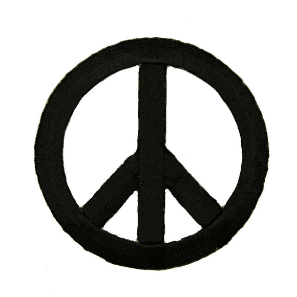 2 3/4 INCH Peace Sign Black Patch Hippie Symbol Embroidered Iron On Applique