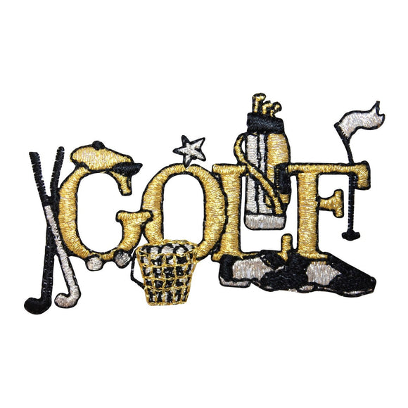 ID 1538 Gold Golf Name Patch Golfing Equipment Club Embroidered Iron On Applique